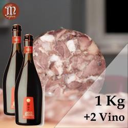 Un trancio di Coppa di Testa - 1 Kg + 2 Bottiglie di Vino Rosso Boron